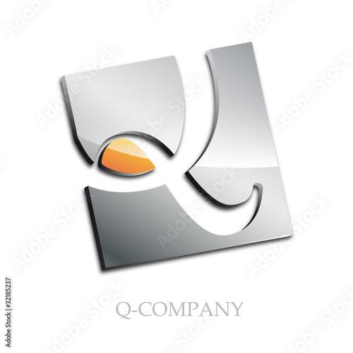 Logo initial letter Q 3d # Vector
