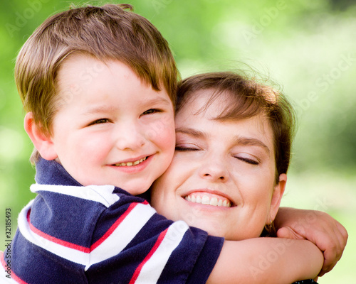 Spring portrait of mother and son on Mothers Day.