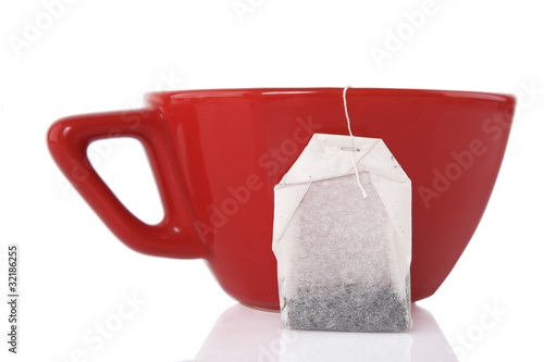 Red Ceramic cup with tea bag