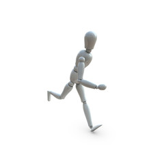 3d white puppet running alone in white background