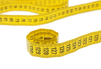 Roll of tape measure isolated