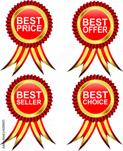 Best offer label with ribbon, vector