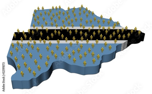 Botswana map flag with many abstract people illustration