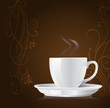 coffee cup on floral background