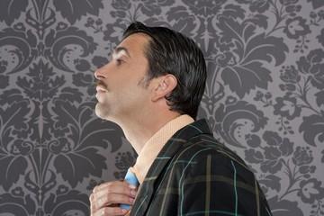 Nerd retro vintage businessman profile portrait