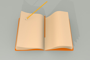 One notebook and pencils