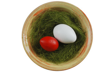 two eggs in a plate with green grass