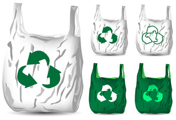 set of recycle white and green plastic bag isolated on white