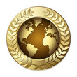 Award Globe – World with Olive Branch Wreath