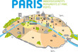 PLAN DE PARIS - Ponts - Monuments - Arrondissements