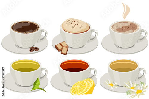 Set of cups with hot drinks. No gradients,no meshes