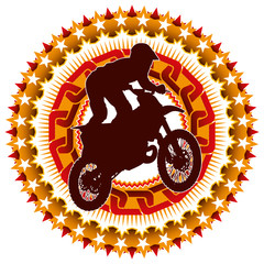 Illustrated modern extreme motorcycling label.