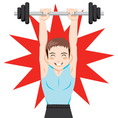 Young man training weight lifting