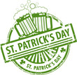 Stamp with Beer mugs and the text St. Patrick's Day