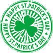 Stamp with clover and the text Happy St. Patrick's Day