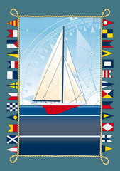 sailboat with nautical flags