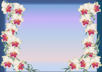 design with white orchid flowers