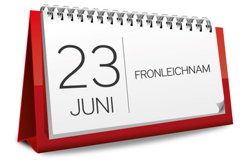 Kalender rot 23 Juni Fronleichnam