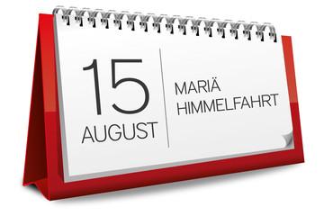 Kalender rot 15 August Mariä Himmelfahrt