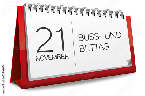 Kalender rot 16 November Buß- und Bettag
