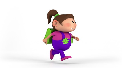 school girl with satchel running - back to school concept