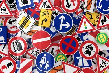 European traffic signs mixed together