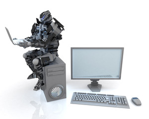 3d robot with computer