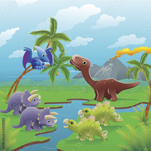 Foto op Canvas Dinosaurs Cartoon dinosaurs scene.