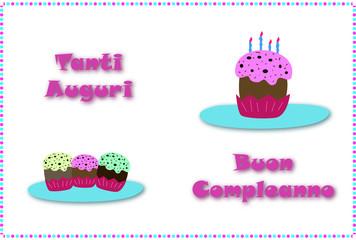 """cartolina compleanno da piegare """"muffin"""""""