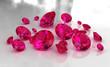 Leinwandbild Motiv Set of round red ruby stones on glossy surface