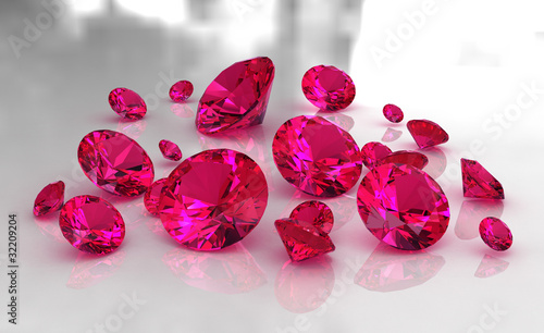 Set of round red ruby stones on glossy surface - 32209204