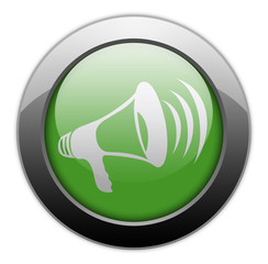 "Green Metallic Orb Button ""Megaphone / Announcement Symbol"""