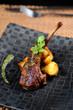 close-up of juice roasted lamb chops