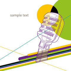 Artistic colorful layout with retro microphone.