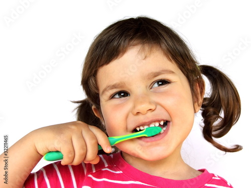 Little Girl Brushing Teeth