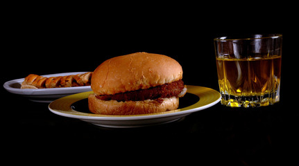 Burger and drinks