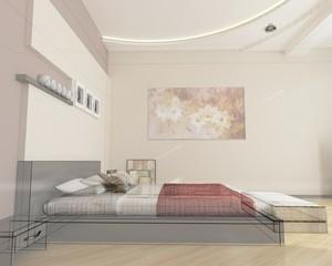 camera da letto rendering 3d progetto