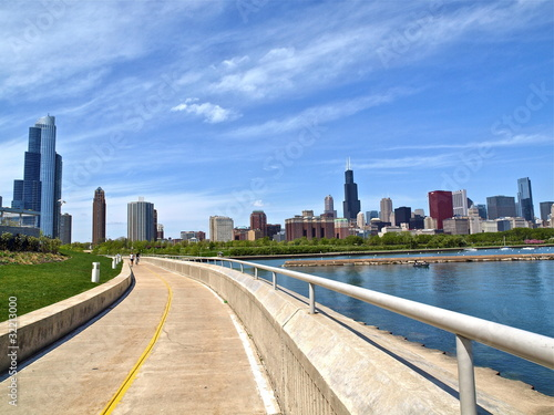 Chicago skyline with running track