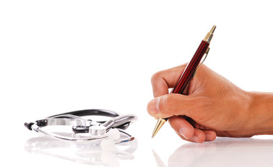Hand Writing with Pen and Stethoscope
