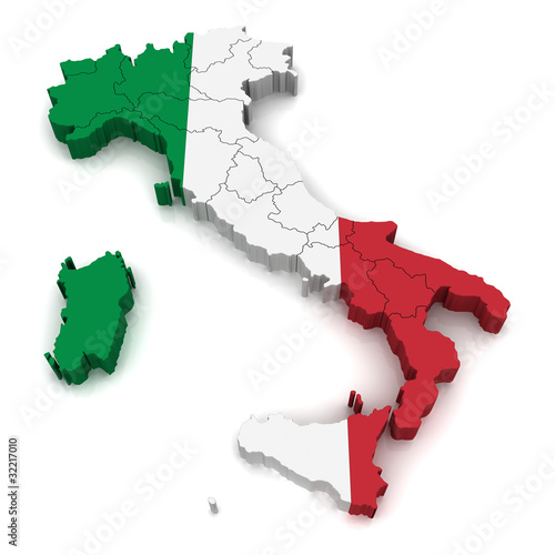 3D Map of Italy