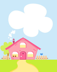 cute cartoon country house with copy-space