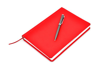 Red diary and pen