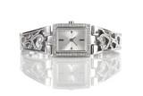 Fototapety Female silver wrist watch with diamonds