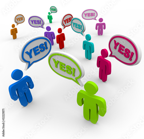 Yes - People Talking in Speech Bubbles Agreement