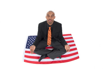 businessman on a US flag