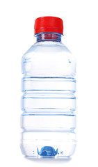 Small bottle of water isolated on white background