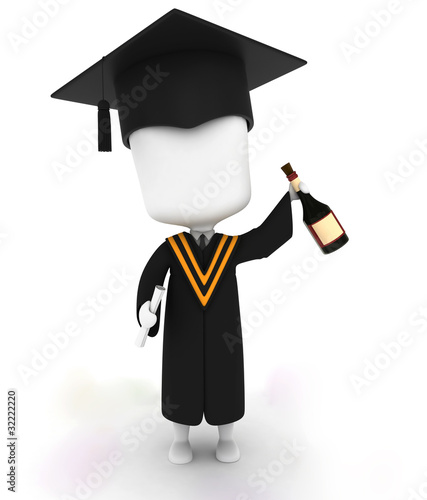 Graduate Holding a Bottle of Wine