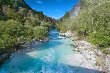 Beautiful turquoise mountain river Soca (Isonzo), Slovenia
