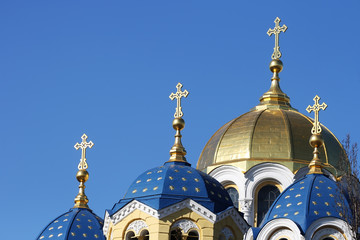 Domes of Christian church with crosses