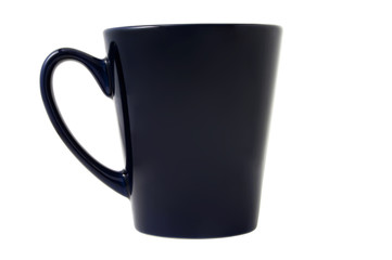 Dark-blue tea cup isolated on the white background